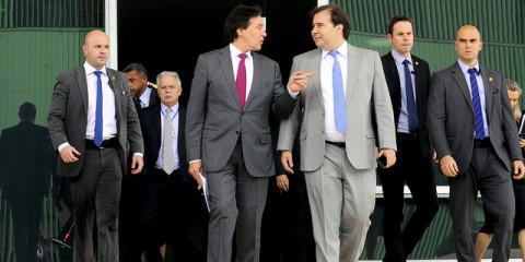 Presidente do Senado Federal, senador Eunício Oliveira (PMDB-CE) se reúne com presidente o presidente da Câmara, Rodrigo Maia (DEM-RJ) - Foto: Marcos Brandão/Senado Federal
