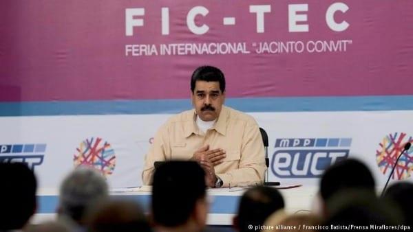 O presidente da Venezuela, Nicolas Maduro, durante o anúncio da criação do Petro