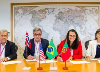 Executivas e executivos do consórcio Equinor, ExxonMobil e Petrogal no Brasil