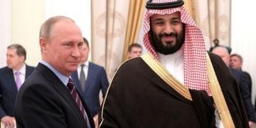 Vladimir Putin em encontro com o príncipe saudita Mohammad bin Salman Al Saud
