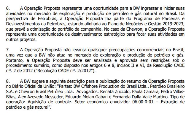 Extrato de documentos enviados ao Cade para análise da compra de Maromba pela BW Offshore