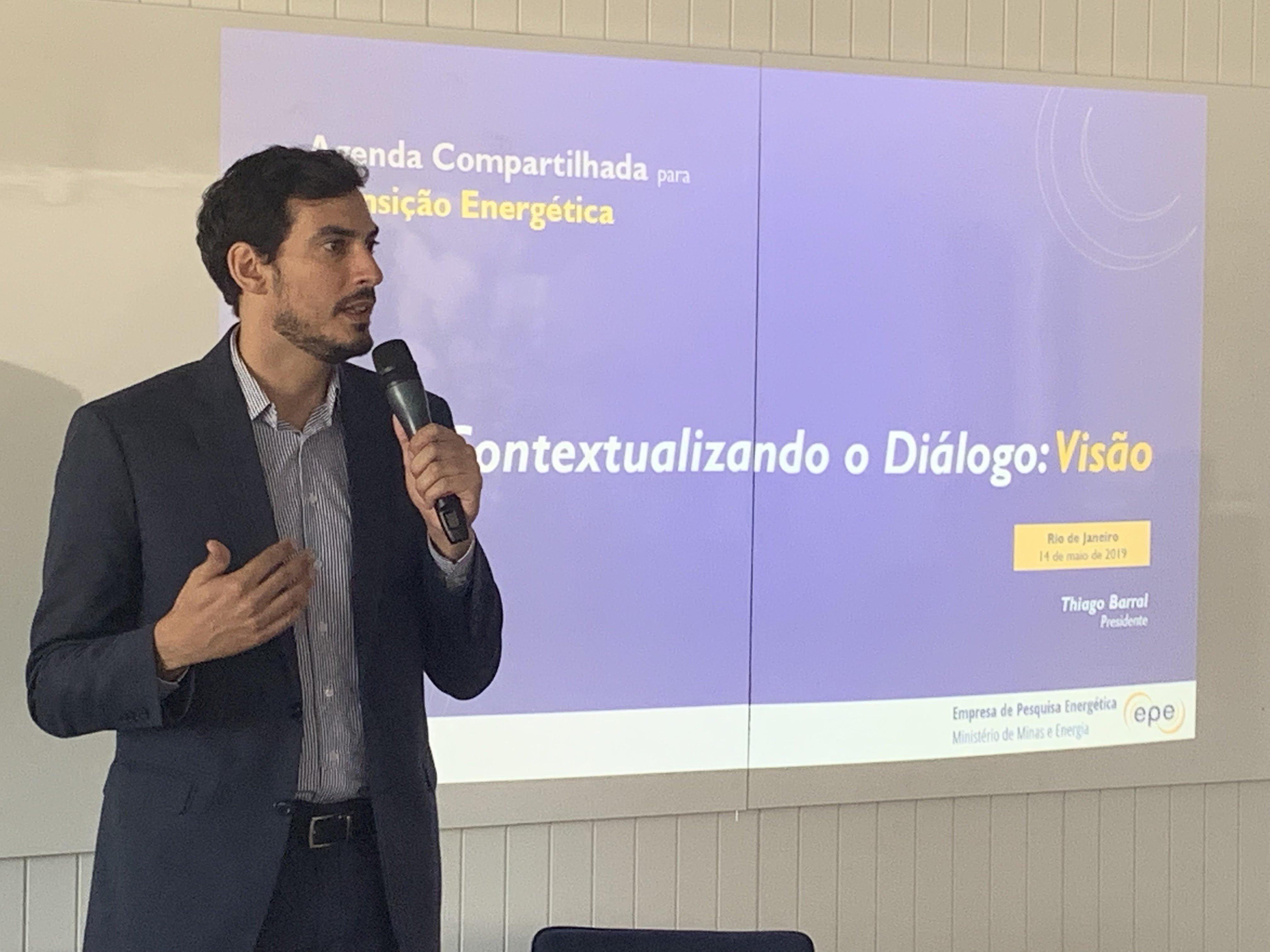 Presidente da EPE, Thiago Barral, durante o Diálogos da Transição