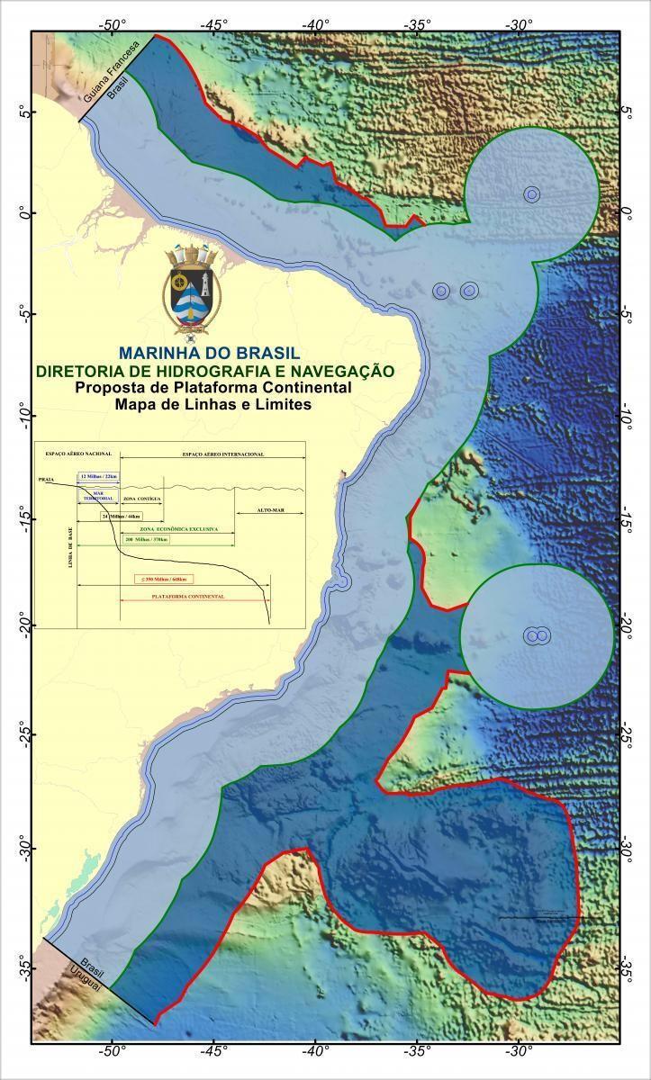 Figura 3 – A Amazônia Azul (região em tons de azul), representada pelo MT, ZEE e PCE além das 200 M, corresponde a uma área oceânica de cerca de 5,7 milhões de km2. Esta figura, preparada pelo LEPLAC, corresponde à integração do limite exterior da PCE proposto nas PPRMCS, PPRMCE e PPRMCOMS para análise da Comissão de Limites.