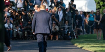 President Donald J. Trump walks from the Oval Office to talk to members of the press on the South Lawn of the White House Friday, Aug. 30, 2019, prior to boarding Marine One to begin his trip to Camp David near Thurmont, Md. (Official White House Photo by Joyce N. Boghosian)