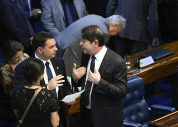 Plenário do Senado Federal durante sessão deliberativa ordinária. Ordem do dia.rrÀ bancada:rsenador Cid Gomes (PDT-CE); rsenador Flávio Bolsonaro (PSL-RJ).rrFoto: Marcos Oliveira/Agência Senado