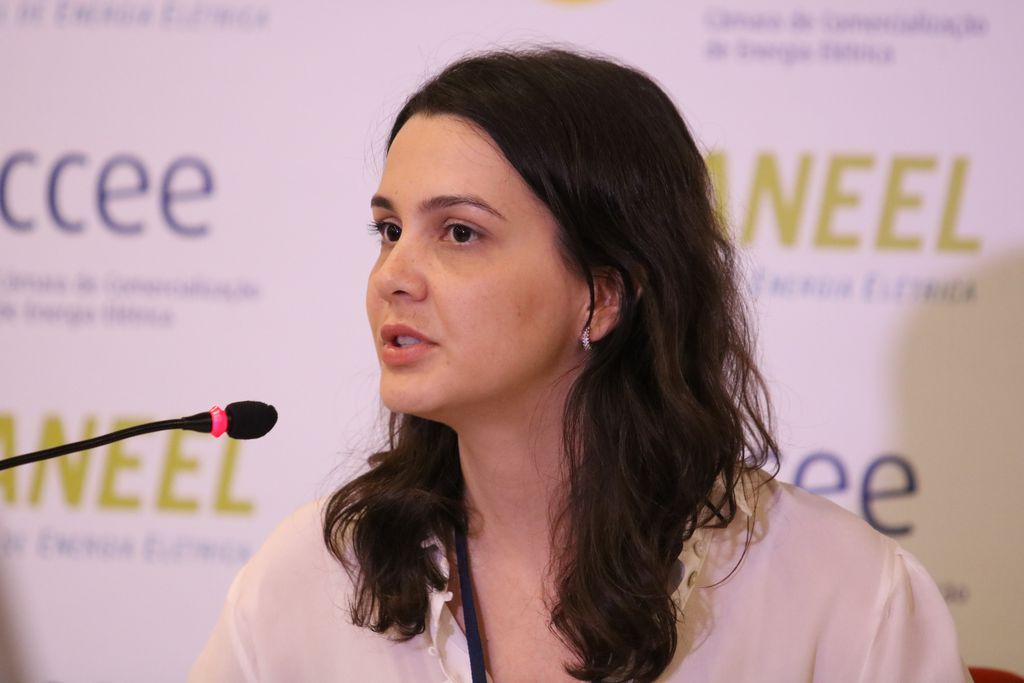 Diretora da Agência Nacional de Energia Elétrica (Aneel), Elisa Bastos, fala com a imprensa após o leilão de Geração A-6, na sede da Câmara de Comercialização de Energia Elétrica (CCEE). Foto: Rovena Rosa, Agência Brasil