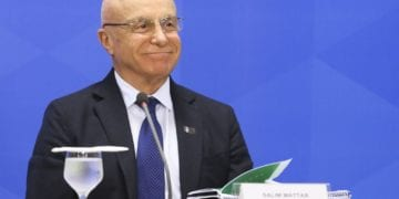 O secretário especial de desestatização,desinvestimento e mercados, Salim Mattar, durante entrevista à imprensa no Palácio do Planalto.