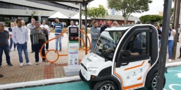 O lançamento do programa de mobilidade com veículos elétricos de Cascavel, no Paraná / Foto: divulgação Prefeitura de Cascavel