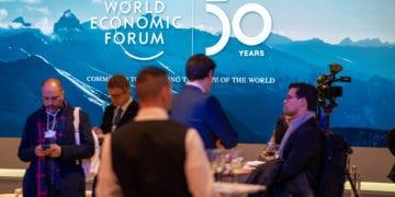 """50th Anniversary Welcome Reception"" at the World Economic Forum Annual Meeting 2020 in Davos-Klosters, Switzerland, January 20,  2020. Plenary Hall Lobby.rrWorld Economic Forum / Boris Baldinger"