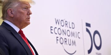 President Donald J. Trump, President of the United States of America appears before the media at the World Economic Forum Annual Meeting 2020 in Davos-Klosters, Switzerland, 21 January. Copyright by World Economic Forum/ Valeriano Di Domenicor