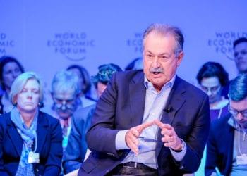 Andrew N. Liveris, da  Saudi Aramco, Saudi Arabia, durante o painel Green Growth Equation, no Fórum Econômico Mundial, em Davos. Foto Forum Ecnômico Mundial/Walter Duerst