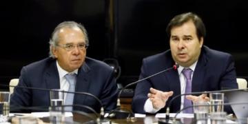 Presidente da Câmara dos Deputados, dep. Rodrigo Maia (DEM-RJ) em reunião com o Ministro da Economia, Paulo Guedes. Foto: Luis Macedo/Câmara dos Deputados