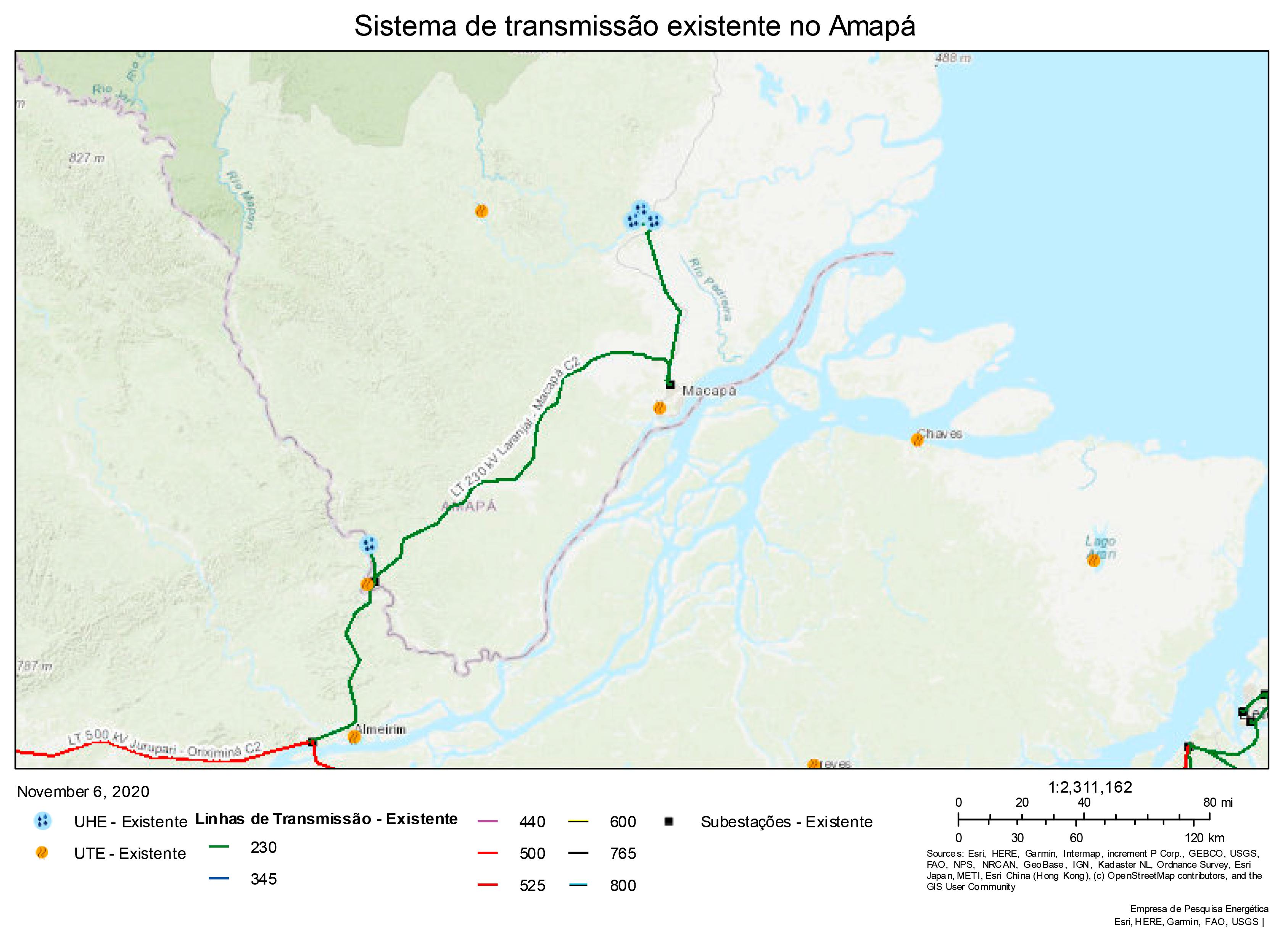 Sistema de transmissão existente em Macapá (EPE, 2020)