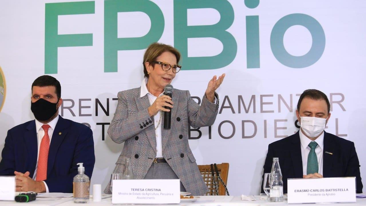 Pedro Lupion, Tereza Cristina e Erasmo Battistella em evento da frente parlamentar do biodiesel em Brasília, em 19 de maio de 2021